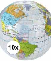 10x wereldbollen aarde opblaasbaar