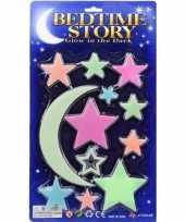 12 x gekleurde sterren maan stickers glow in the dark