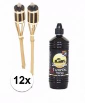 12x bamboe oliefakkels met navulling 1 liter