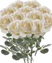 12x creme witte rozen roos kunstbloemen 37 cm
