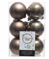 12x kasjmier bruine kerstballen 6 cm kunststof mat glans