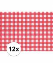 12x placemat rood wit geblokt 43 x 30 cm