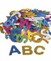 130x zelfklevende hobby knutsel foam rubber letters met glitters