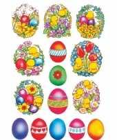 135x gekleurde paaseieren met bloemen en kuikens stickers
