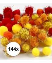 144x knutsel pompons 15 20 mm kleuren