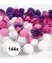 144x knutsel pompons 15 20 mm wit paars