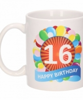 16 jaar cadeau beker 300 ml ballon thema