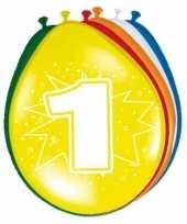 16x feestartikelen 1 jaar ballonnen