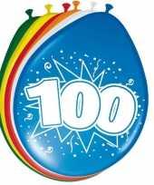 16x stuks ballonnen 100 jaar 30 cm