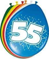 16x stuks ballonnen 55 jaar 30 cm