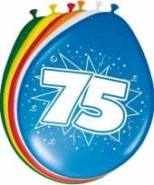 16x stuks ballonnen 75 jaar 30 cm