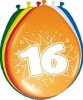 16x stuks feest ballonnen met 16 jaar opdruk