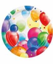 16x stuks feestbordjes met ballonnen opdruk karton 23 cm