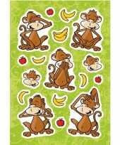 17x aap apen dieren stickers met 3d effect met zacht kunststof