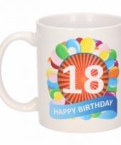 18 jaar cadeau beker 300 ml ballon thema