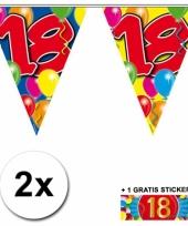 2 vlaggenlijnen 18 jaar met gratis sticker