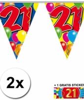 2 vlaggenlijnen 21 jaar met gratis sticker