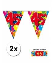2 vlaggenlijnen 45 jaar met gratis sticker