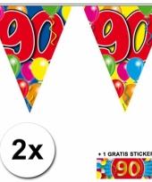 2 vlaggenlijnen 90 jaar met gratis sticker