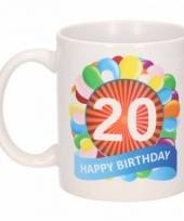 20 jaar cadeau beker 300 ml ballon thema