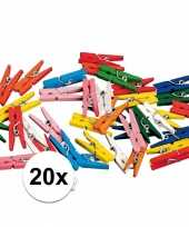 20 x gekleurde mini knijpers