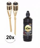20x bamboe oliefakkels met navulling 1 liter