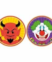20x halloween onderzetters duivel en horror clown