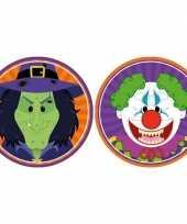 20x halloween onderzetters heks en horror clown