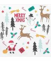 20x merry x mas kerst servetten 33 cm