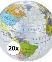 20x wereldbollen aarde opblaasbaar