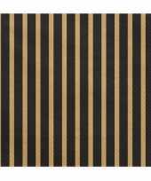 20x zwart met gouden servetten 33 cm