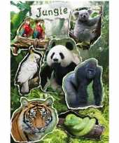 21x jungle dieren stickers met reflecterende folie effect