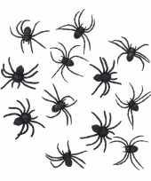 24 zwarte decoratie spinnetjes 8 cm