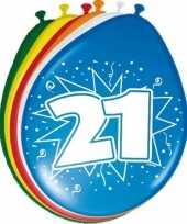 24x stuks ballonnen 21 jaar 30 cm