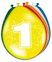 24x stuks feestartikelen 1 jaar ballonnen