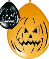 24x zwart met oranje halloween ballonnen
