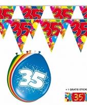 2x 35 jaar vlaggenlijn ballonnen