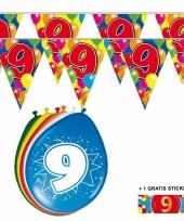 2x 9 jaar vlaggenlijn ballonnen