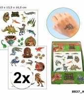 2x afwasbare tattoos dino world voor kinderen