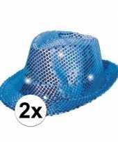 2x blauwe hoeden voor volwassenen met licht