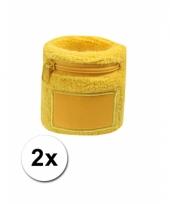 2x geel zweetbandje met rits