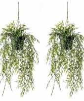 2x groene bamboe kunstplanten 50 cm in hangende pot