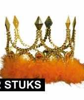 2x koningskronen goud met oranje veren
