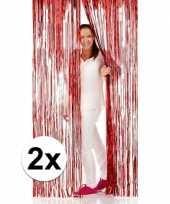 2x rode folie deurgordijnen