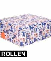 2x sinterklaas kado papier rol blauw wit oranje