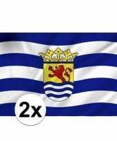 2x stuks provincie zeeland vlaggen
