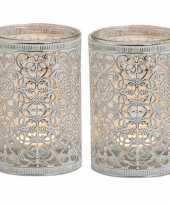 2x waxinelicht theelicht houders zilver antiek 12 cm