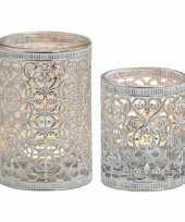 2x waxinelicht theelicht houders zilver antiek 7 en 12 cm