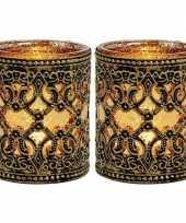 2x waxinelicht theelicht houders zwart goud antiek 10 cm