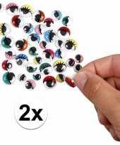 2x wiebel oogjes met gekleurde oogleden 30 stuks
